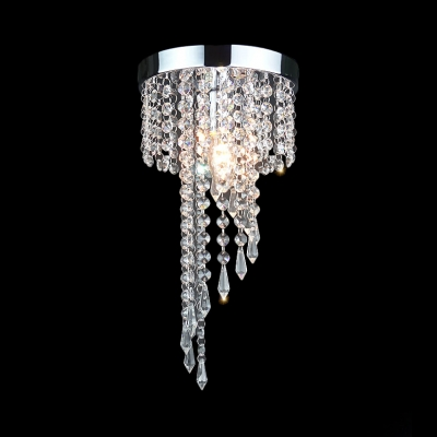 Round Canopy Flush Ceiling Light with Clear Crystal 1 Light Modern Chandelier in Polished Chrome