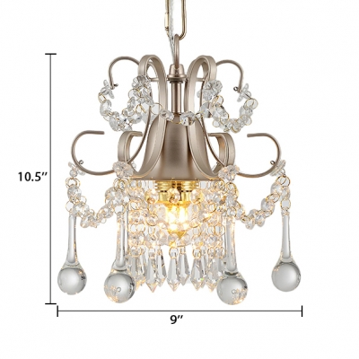 Contemporary Chandelier Light 1/3 Light Clear Crystal Pendant Light with 19.5