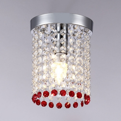 Cylinder Light Flush Mount Bedroom 1 Light Contemporary Chandelier in Red/Yellow/Blue