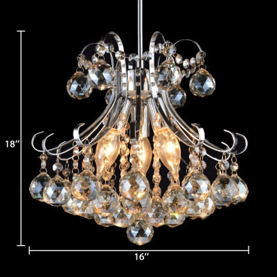 Height Adjustable Clear/Amber/Purple Crystal Chandelier Light Fixture 3 Lights Modern Pendant Lighting for Living Room