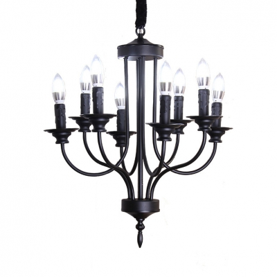 Living Room Chandelier Metal Antique Black Hanging Pendant with Adjustable Chain