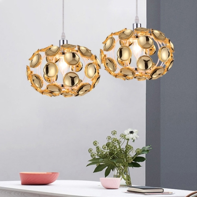 Metal Globe Chandelier with Clear Crystal Decoration and Adjustable Cord 1 Light Contemporary Pendant Lighting