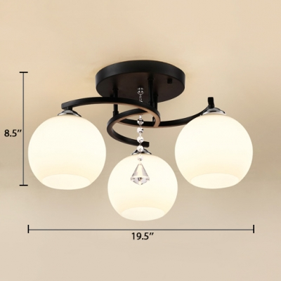 Modern Orb Semi-Flush Light Acrylic 3/5/7/9 Lights White Ceiling Fixture for Dining Room