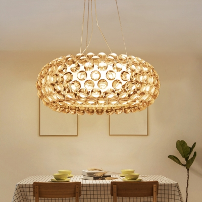 Modern Oval Chandelier Clear Crystal 1 Light Silver Adjustable Pendant Lighting with Cord for Living Room