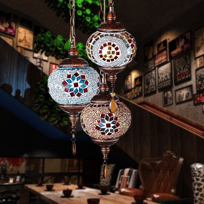 Moroccan Pendant Lighting with Globe Multi Color Glass Hanging Lamp for Dining Room