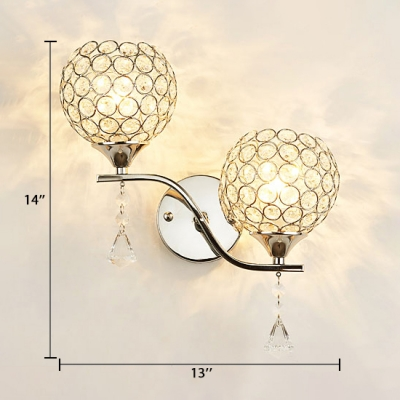 Orb Bedroom Wall Mounted Light Clear