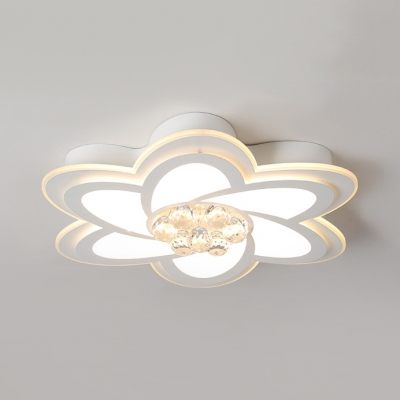 Petal LED Flush Mount Lighting Hallway Modern Ceiling Lamp with Clear Crystal in White