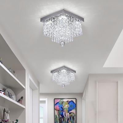 Rectangular Bedroom Flush Mount Clear Crystal 1 Light Contemporary Chandelier in Nickel