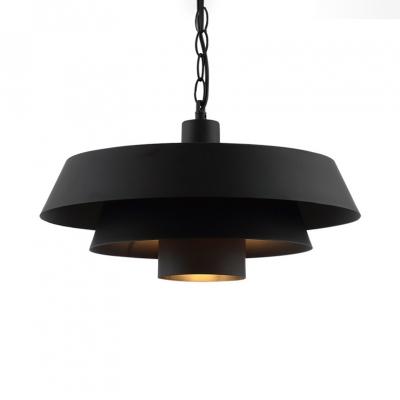 Rustic Barn Pendant Light Metal Single Light Length Adjustable Black Ceiling Light with 16