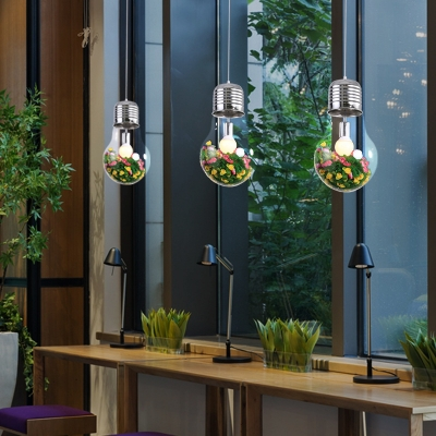 Rustic LED Suspension Pendant with Flower Decoration 1 Light Clear Glass Ceiling Lamp with 39