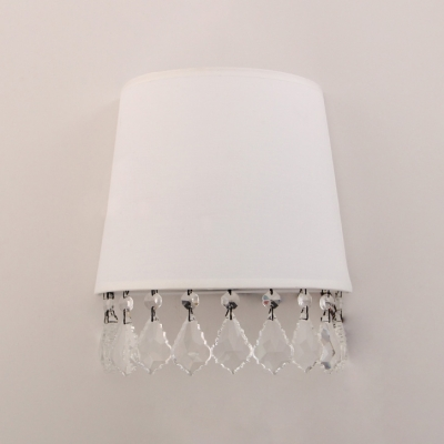Single Light Tapered Wall Lamp with Clear Crystal Antique Style White Fabric Sconce Light