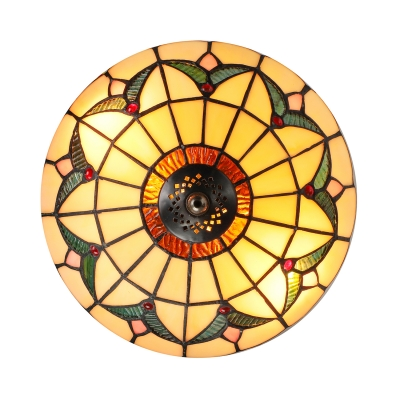 Tiffany Stained Glass Style Flush Mount Ceiling Light in Beige 9.84