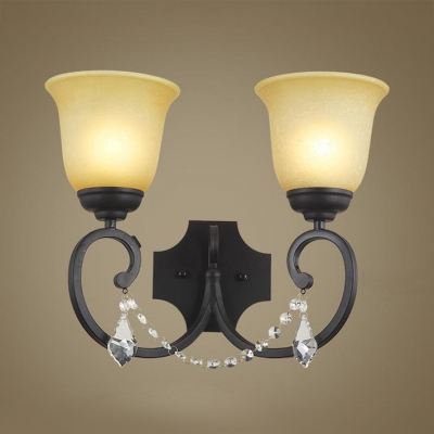 Traditional Black Wall Light with Bell and Clear Crystal 2 Lights Metal Sconce Light