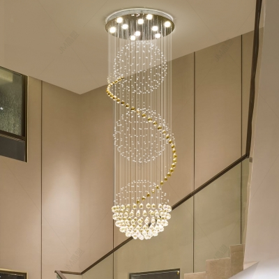 4/6/9 Lights Spiral Flush Mount Lights Contemporary Clear Crystal Chandelier in Chrome