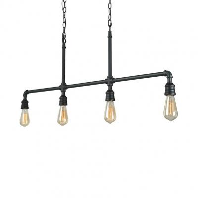 4 Lights Open Bulb Island Lighting Industrial Metal Pendant Lights with 51