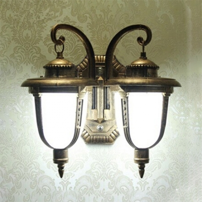 2 Lights Lantern Wall Lamp with White Glass Vintage Waterproof Wall Sconce for Patio in Antique Bronze, HL512130