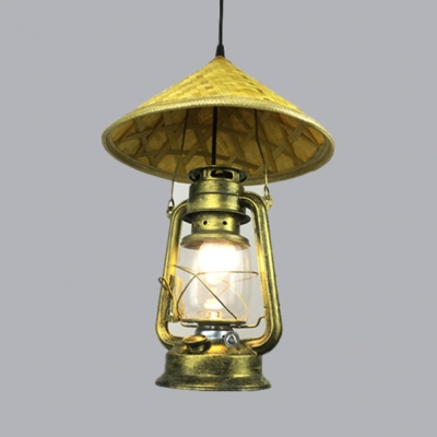 Lantern Drop Light with Adjustable Hanging Cord Cottage Hand Knitted Shade Single Pendant Lighting in Beige