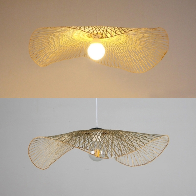 Rustic Wavy Pendant Lighting for Cafe Hand Knitted Single Light Hanging Lamp in Beige