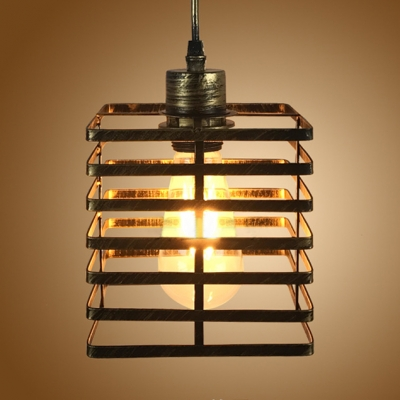 Antique Cylinder/Square Hanging Light 1 Light Metal LED Hanging Light Fixture with 39