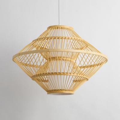 Bamboo Saucer Hanging Light One Light Asian Pendant Lighting in Wood for Restaurant