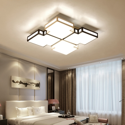 Bedroom Square Ceiling Pendant Acrylic Contemporary Black and Gold Flush Ceiling Light