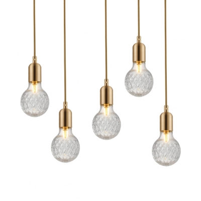 Bulb Pendant Lighting One Light Concise Modern Clear Textured Glass Suspended Light