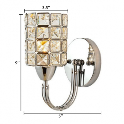 Clear Crystal Cylindrical Wall Mounted Light 1 Light Modern Style Sconce Lighting for Bedroom, 3.5