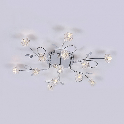 Contemporary Style Cube Semi Flush Mount Lighting Multi Lights Clear Crystal Ceiling Light Fixture