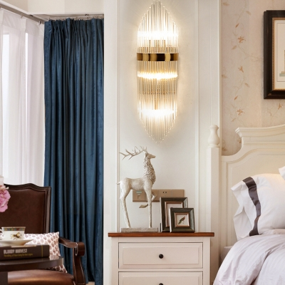 Cylindrical Sconce Light Bedroom 3 Lights Contemporary Wall Light in Gold/Aged Brass