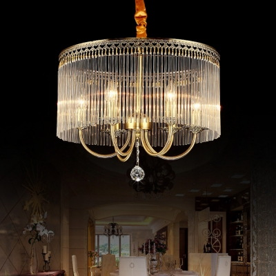 Drum Living Room Chandelier with Candle Clear Crystal Transitional Pendant Light in Brass