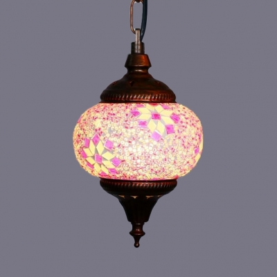 Globe Dining Room Pendant Light Fixture Mosaic Single Light Moroccan Hanging Lamp
