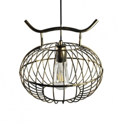 Gold/Rust Globe Hanging Lamp Antique Height Adjustable Metal Pendant Lighting for Dining Room