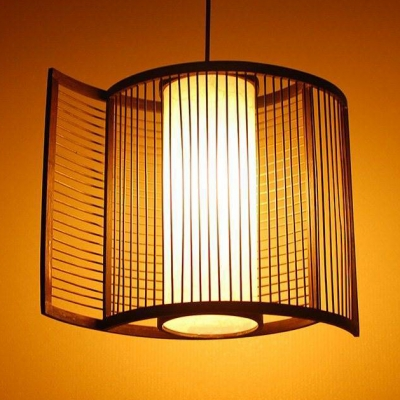 Handmade Curved Ceiling Pendant Bedroom 1 Light Height Adjustable Asian Style Bamboo Hanging Lamp, 12