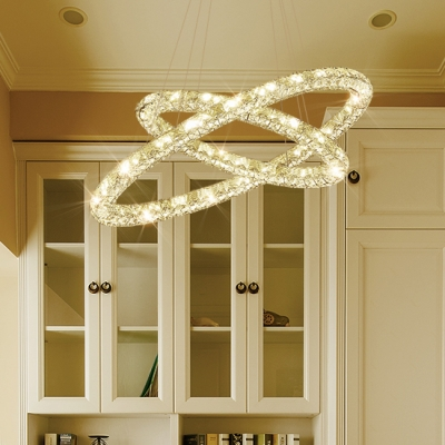 Interlace Rings Dining Room Chandelier Clear Crystal Contemporary Light Fixture with 47