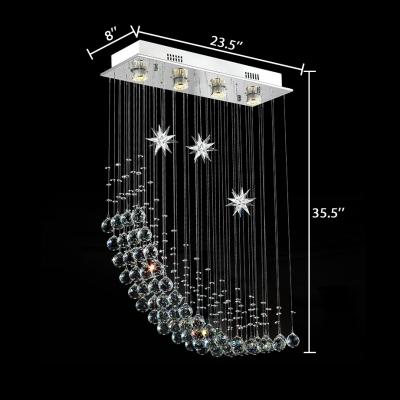 Rectangle Canopy Flush Mount Clear Crystal Modern Chrome Chandelier for Living Room