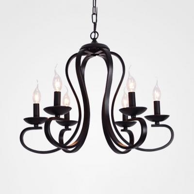 Metal Candle Hanging Chandelier 3/5/6 Lights Industrial Pendant Lighting Fixture in Black