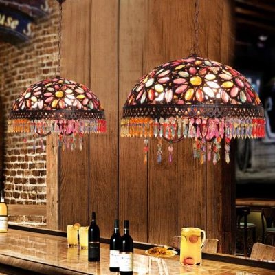Metal Domed Suspended Light 3 Lights Antique Hanging Lamp with Colorful Crystal for Bedroom