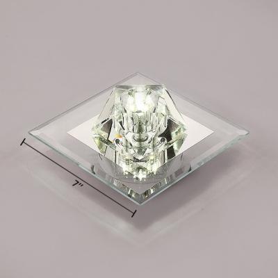 Modern Square Canopy Flush Ceiling Lighting Black/Amber/Clear Crystal Flush Light for Foyer
