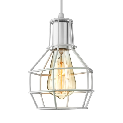 Retro White 1 Light LED Pendant Light with Cage Shade