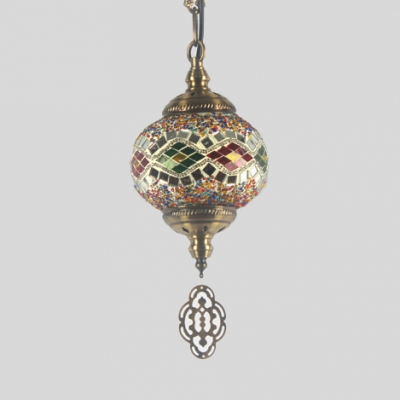 Single Light Globe Pendant Lamp Moroccan Colorful Glass Ceiling Light for Dining Room