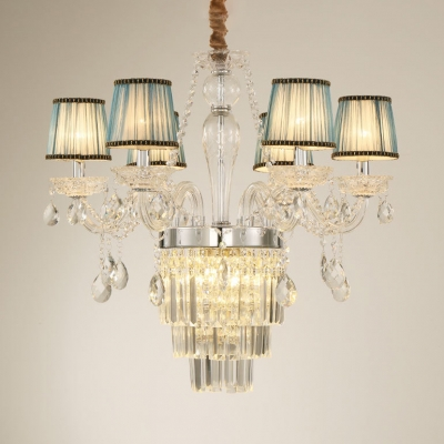 Clear Crystal Flared Chandelier Light with 12