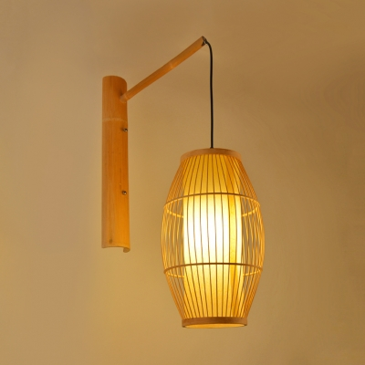 Asian Style Oval Shade Wall Lantern For Restaurant Bamboo Light