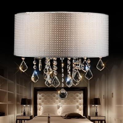 Adjustable Drum Light Fixture Living Room 6 Lights Traditional Hanging Chandelier in White