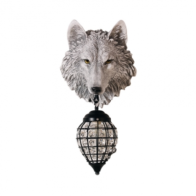Antique Teardrop Sconce Light 1 Light Clear Crystal Wall Lamp with Wolf in Grey/Brown/Silver