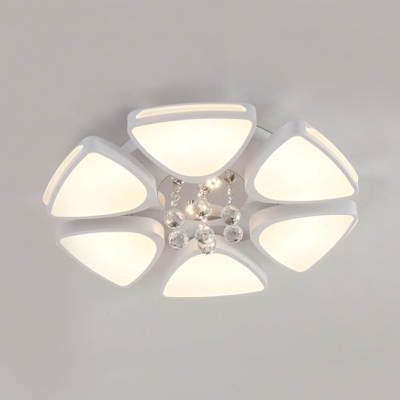 Bloom LED Light Fixture Contemporary Acrylic Flush Mount Light with Clear Crystal Ball in White