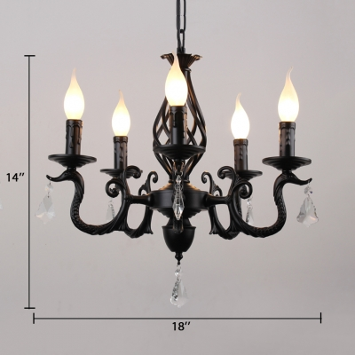 Candle Chandelier Lighting with Curved Arm 5/6 Lights Classic Style Metal Hanging Lamp in Black