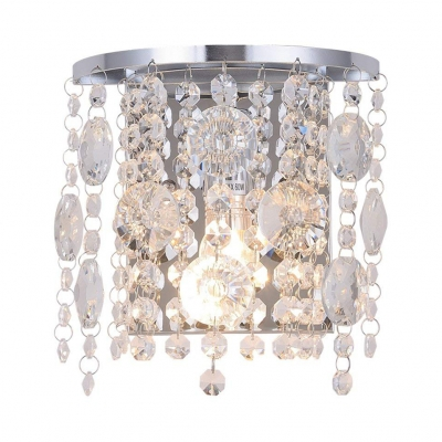 Clear/Amber Crystal Sconce Lighting Single Light Antique Style Wall Lamp, L:7in W:5in H:8in
