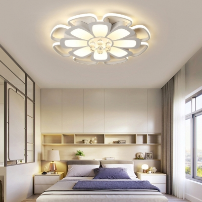 Contemporary Petal Flush Ceiling Light Acrylic White LED Ceiling Fixture with Clear Crystal for Living Room