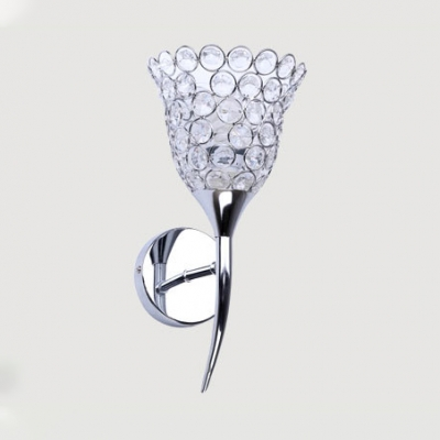 Contemporary Style Chrome Sconce Light with Floral Shade 1-Light Clear Crystal Wall Lighting