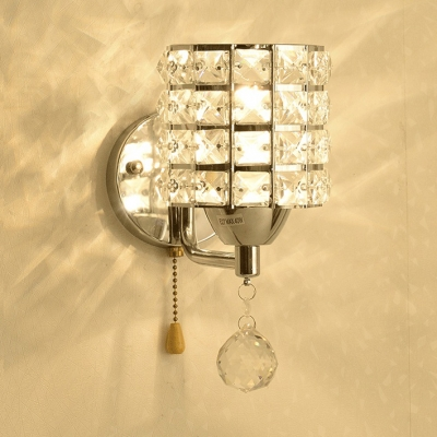 Cylinder Bathroom Sconce Lighting Clear Crystal One-Light Contemporary Style Wall Mounted Light, H8.5